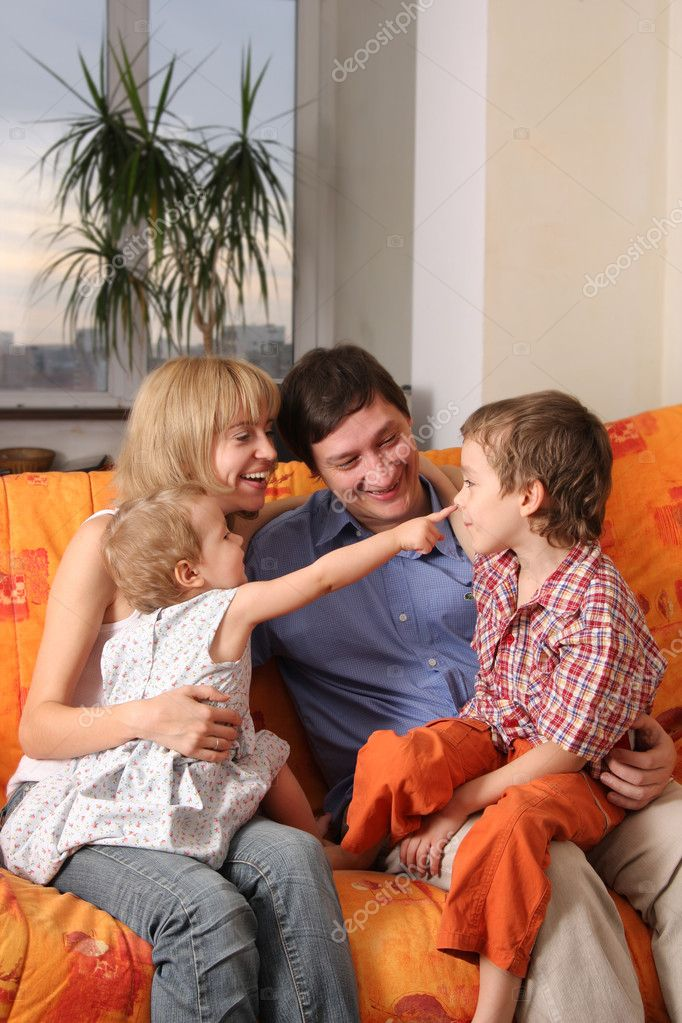 Happy family of the house on a sofa 7 — Stock Photo #1852561