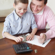 Stock Photo: Father training the son to the finance