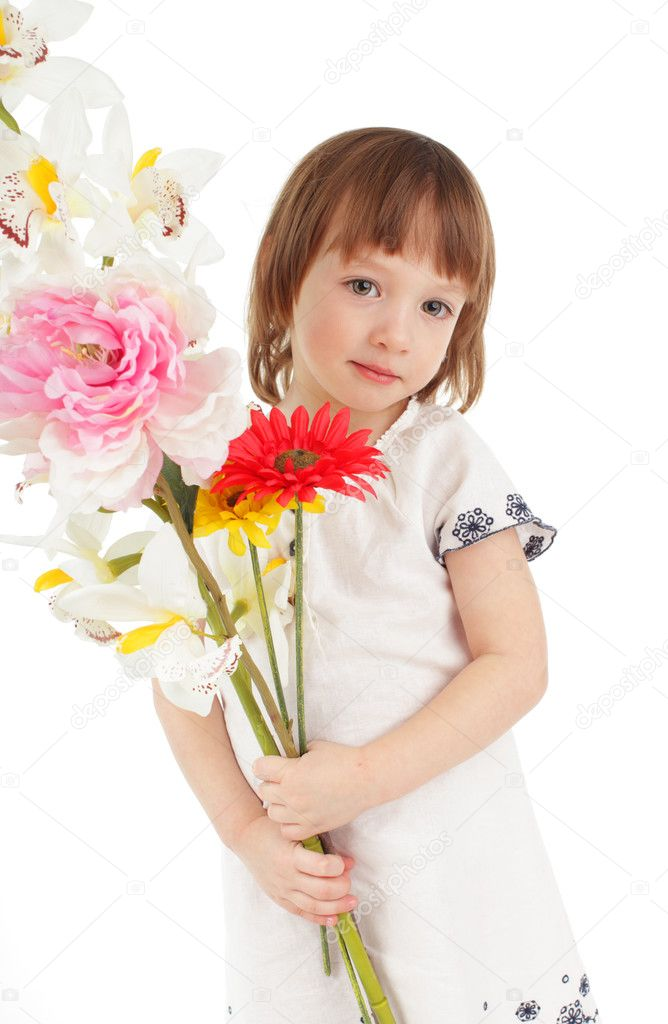 Little girl with bouquet isolated on white — Stock Photo #2541377