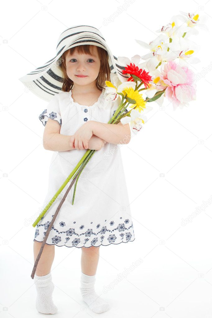 Little girl with bouquet isolated on white — Stock Photo #2541499