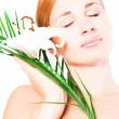 Beautiful spa woman with lilly — Stock Photo
