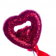Stock Photo: Red valentine heart on white background