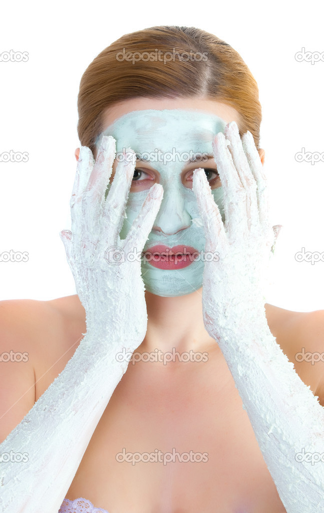 Girl with face mask  and hand — Stock Photo #2671914