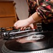 DJ mixing — Stock Photo