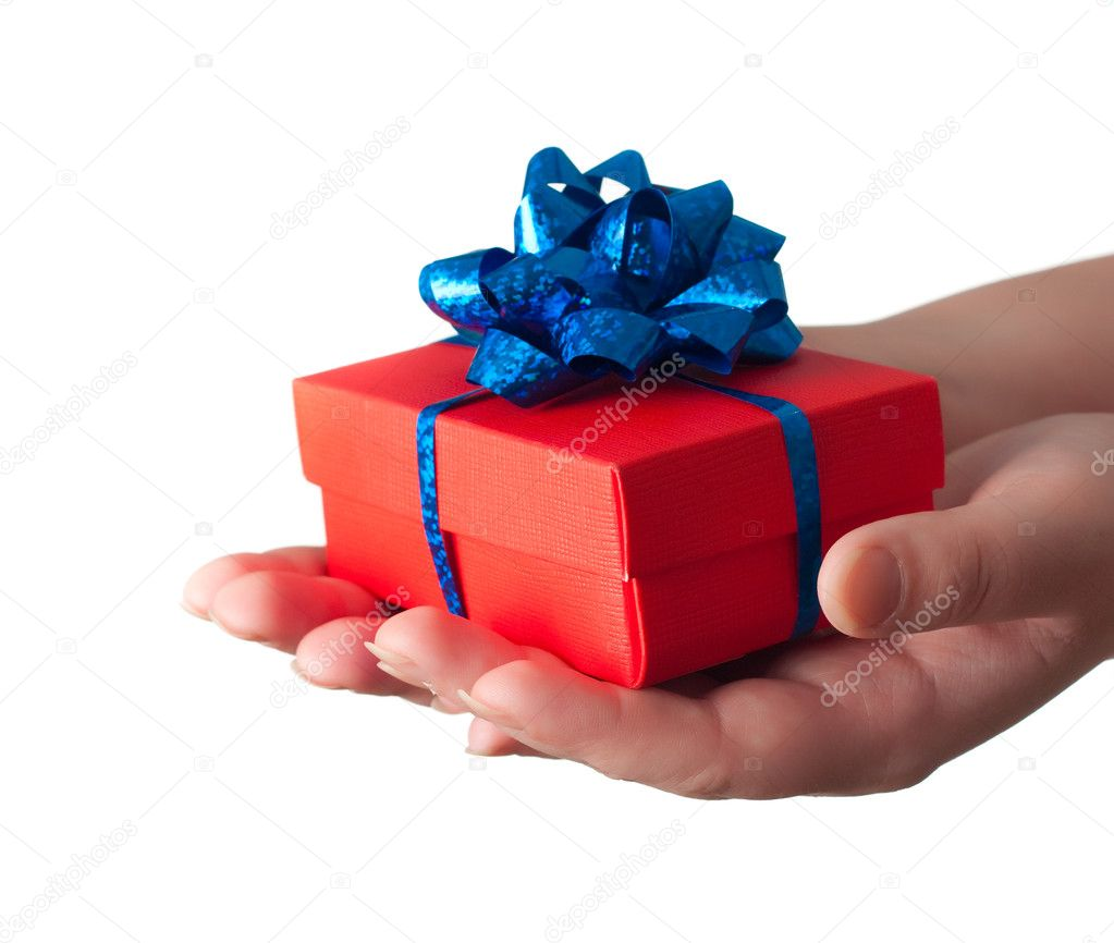 Hands giving a gift isoated — Stock Photo #1632166