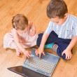 Children with the laptop — Stock Photo