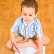 The boy draws pencils — Stock Photo
