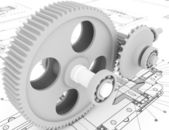 Mechanical sketch with gears — Stock Photo