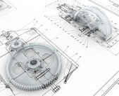 Desenho mecânico com engrenagens — Foto Stock