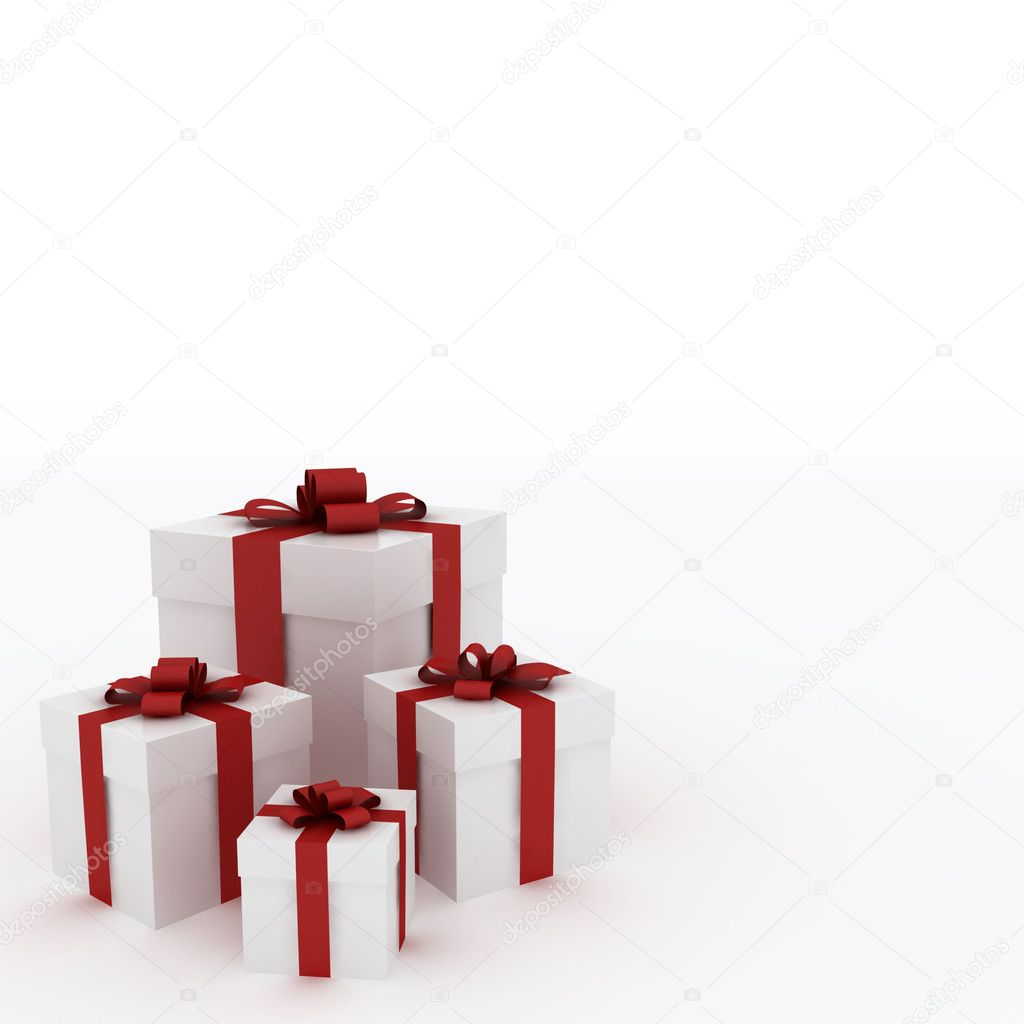 Beautiful white gift boxes with red ribbon isolated on white — Stock Photo #1719632