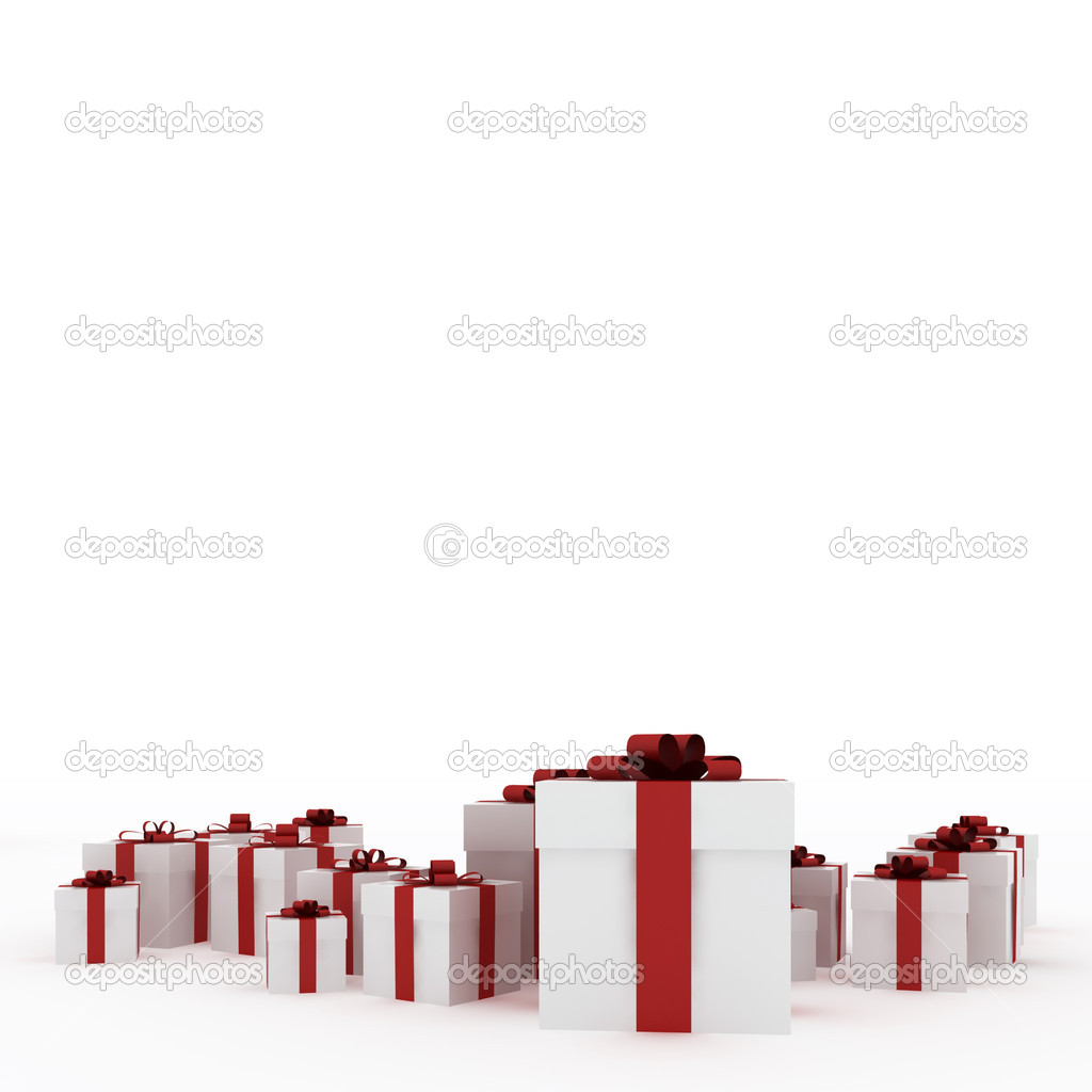 Beautiful white gift boxes with red ribbon isolated on white — Stock Photo #1719657