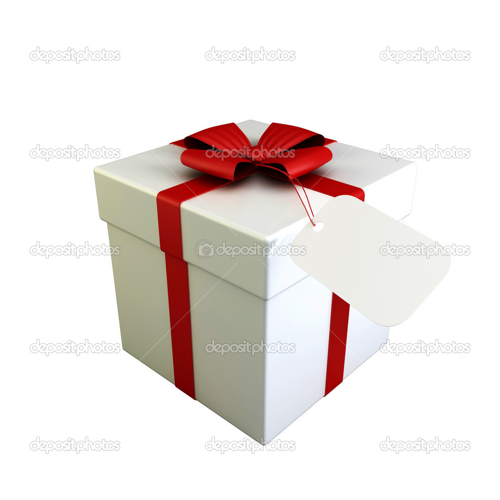 Beautiful white gift boxes with red ribbon isolated on white — Foto Stock #1719889