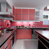 Red Kitchen — Foto Stock