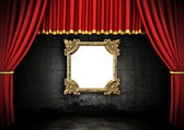 Red Stage Theater Drapes — Stock Photo
