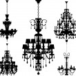 Silhouettes of luxury chandeliers - Stok Vektör