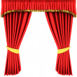 Red theater curtain isolated on white — Stock Photo #2129313