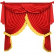 red theater curtain isolated on white — Stock Photo