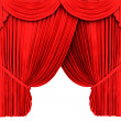 Stock Photo: red theater curtain isolated on white
