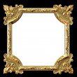 Golden frame on black background and white place for your picture - Stock Photo