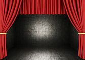 3d rendering of an empty room with Red theater curtain — Stock Photo