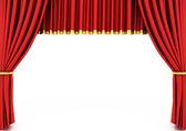Cortina vermelho teatro isolada no branco — Foto Stock
