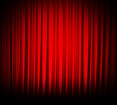 Red theater curtain isolated on white — Photo