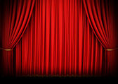 Red theater curtain isolated on white — Foto Stock