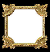 Golden frame on black background and white place for your picture — Stock Photo