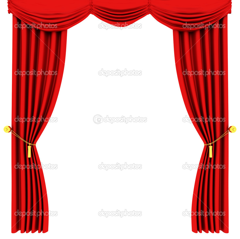 Red theater curtain isolated on white background  Stock Photo #2129455