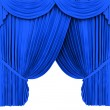 Blue theater curtain isolated on white — ストック写真