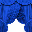 Blue theater curtain isolated on white — Foto Stock #2143528