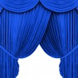 Stock Photo: Blue theater curtain isolated on white