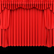 Red theater curtain isolated on black — Stock Photo #2145456
