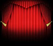Spot ışıklar kırmızı tiyatro perdesi — Stok fotoğraf