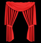 Red theater curtain isolated on black — Stock Photo
