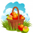 Basket with apples - Stock Vector