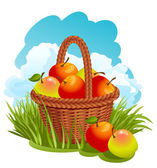 Basket with apples — Stock Vector