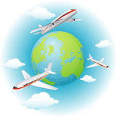 Vector illustration - airplanes flying around the Earth — Stock Vector