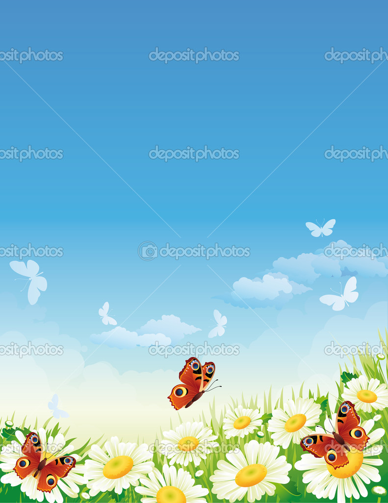 Vector illustration - landscape whis butterfly and flowers — Stok Vektör #2008697