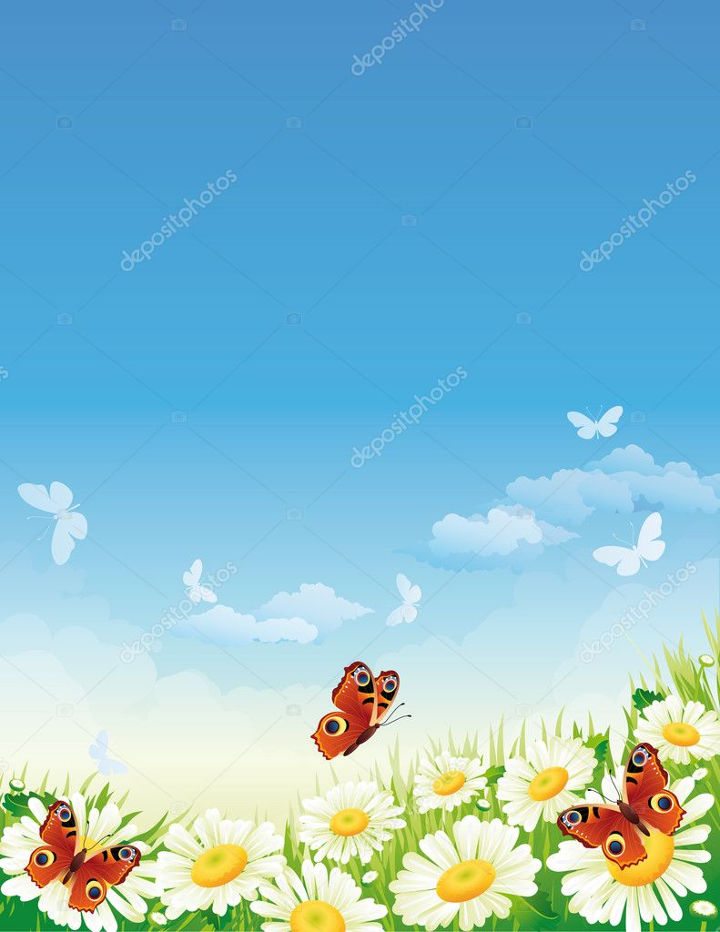 Vector illustration - landscape whis butterfly and flowers — Векторная иллюстрация #2008697
