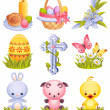 Easter icons — Vector de stock