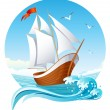 Stock Vector: Sailing ship