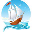 Vettoriale Stock : Sailing ship
