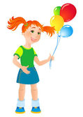 Vector illustration - ginger girl with a balloon — Stock Vector
