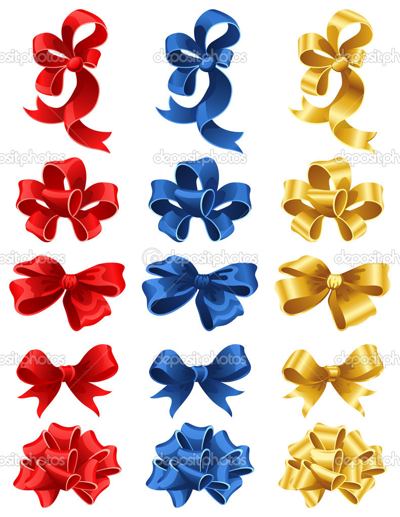 Vector illustration - set of colourful gift bows — Stock Vector #2010311