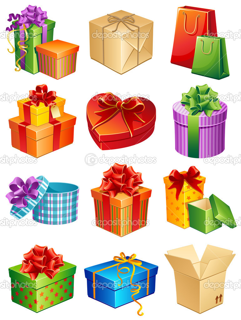 Vector illustration - gift box icon set — Imagen vectorial #2010363