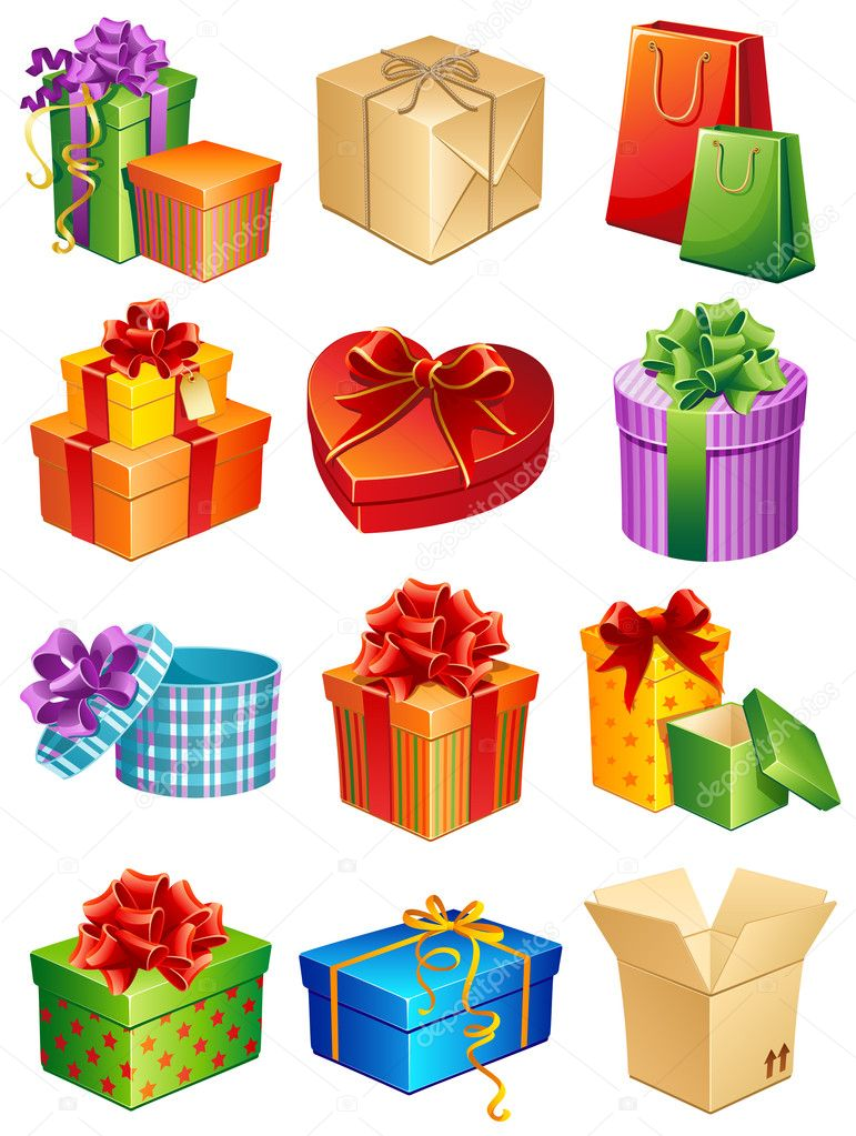 Vector illustration - gift box icon set — ベクター素材ストック #2010363
