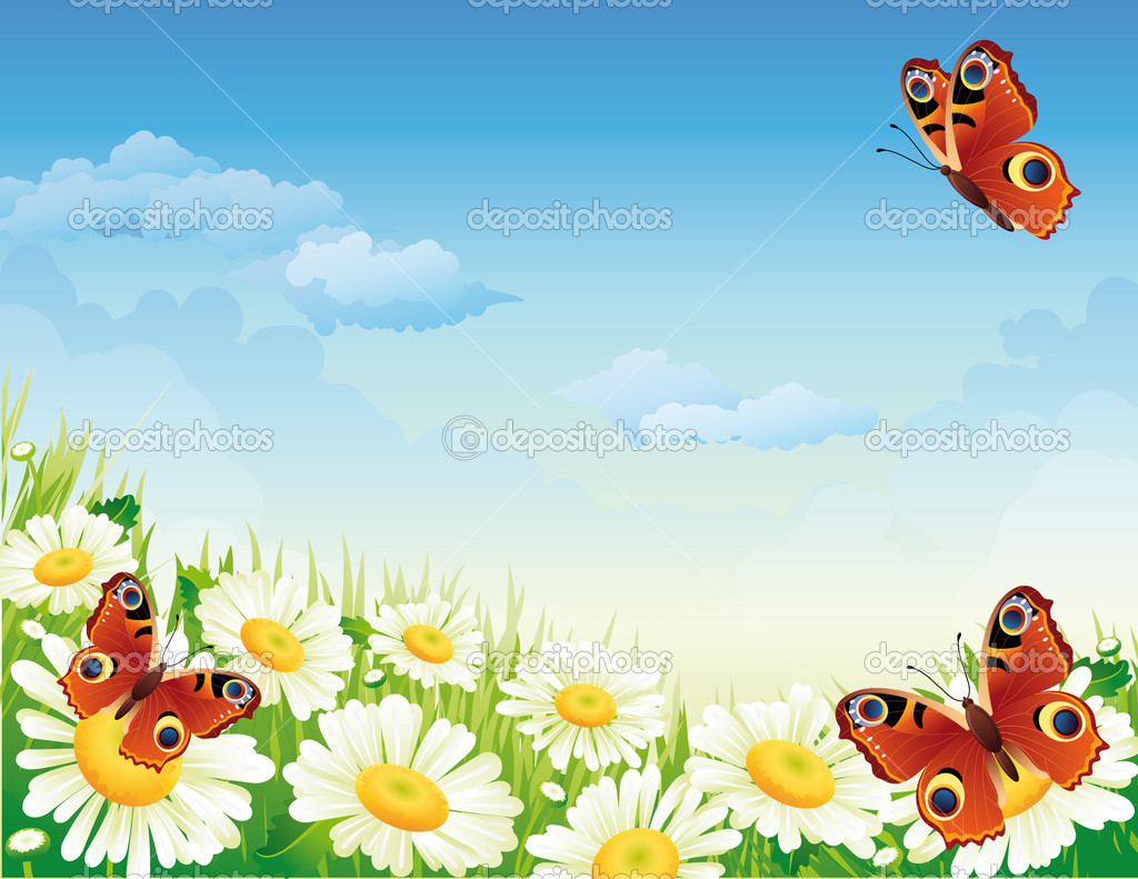 Vector illustration - landscape whis butterfly and flowers — Stock Vector #2010417