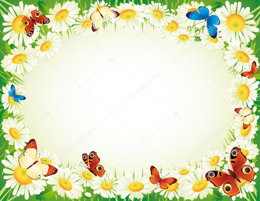 Vector illustration - frame whis butterfly and flowers — Stock Vector #2010426