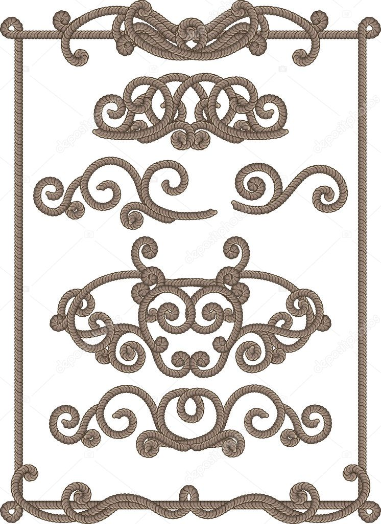 Vector illustrations - old-fashioned cord frame  Stock Vector #2010551